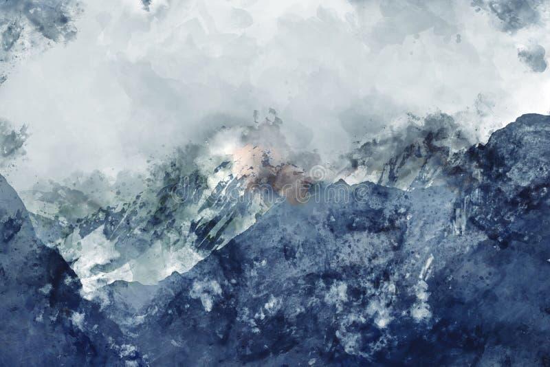 Abstrakt målning av bergskedjor i blå signal, Digital vattenfärgmålning royaltyfri illustrationer