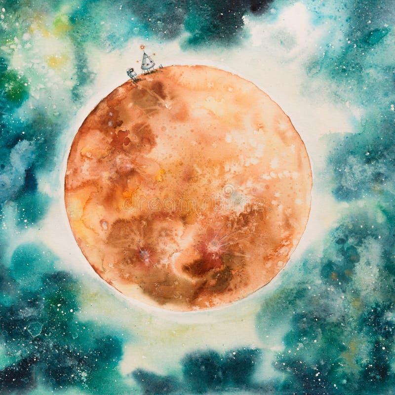 Abstrakt målning av månefasen vektor illustrationer
