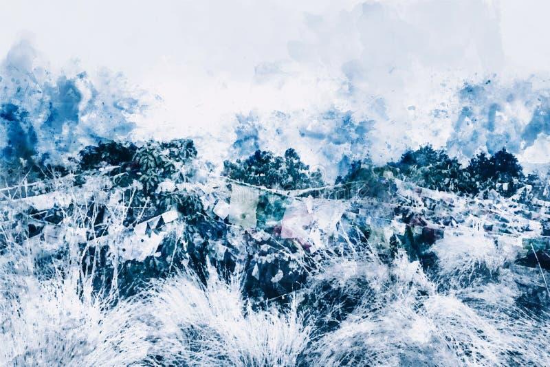 Abstrakt målning av skogen i blå signal, Digital vattenfärgmålning royaltyfri illustrationer