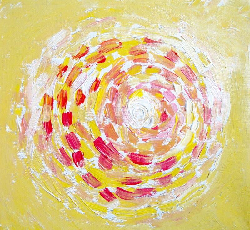 Abstrakt målning av solen, härligt färgrikt ljus på kanfas Modern impressionism Illustration av den ljusa glänsande solen Slaglän royaltyfri illustrationer