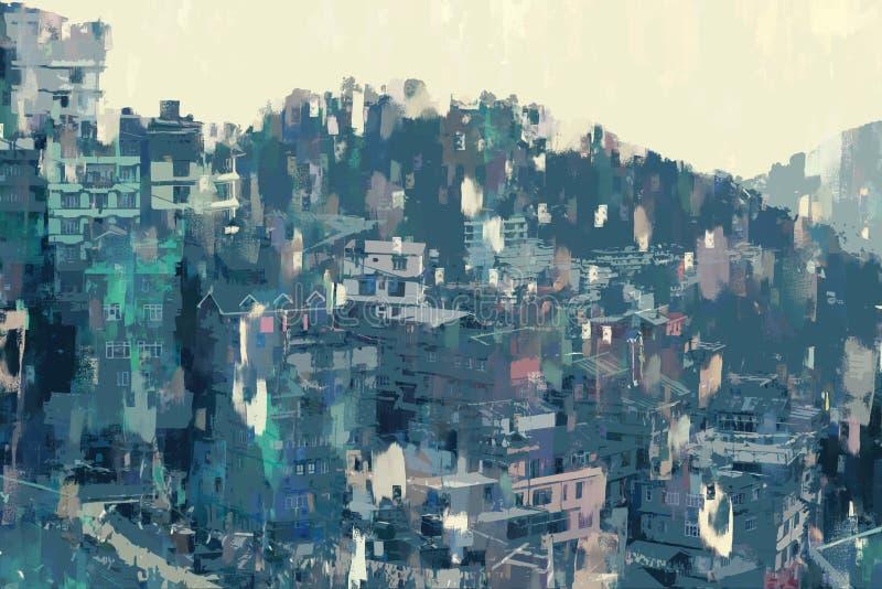 Abstrakt målning av staden på kullen, digital illustration, akryl textur på bilden stock illustrationer