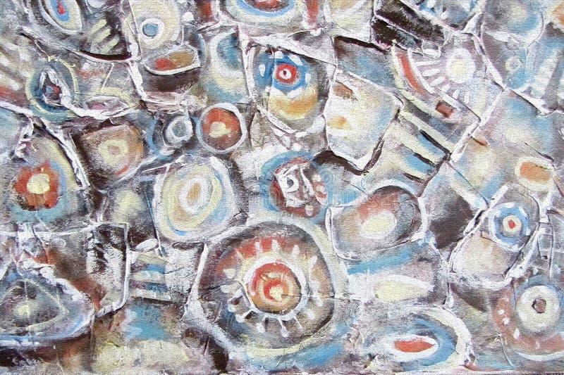 abstrakt målning Bergflodstenar Cirklar på vattnet vektor illustrationer