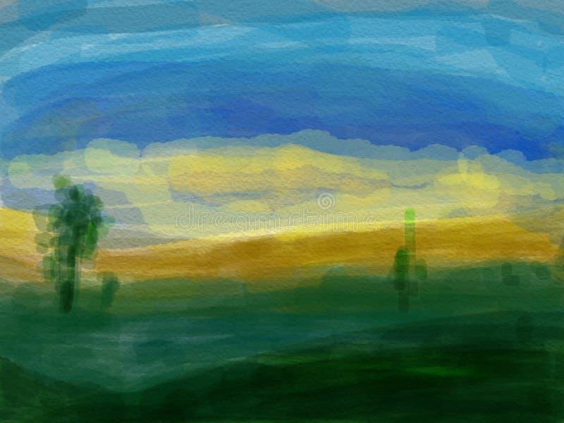 Abstrakt målning för bakgrund för scape för land för vattenfärg stock illustrationer