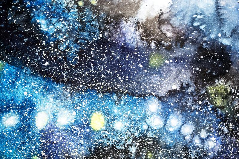 Abstrakt målning för vattenfärg teckning för vattenfärg Akvarellen bläckar ner texturbakgrund royaltyfria bilder