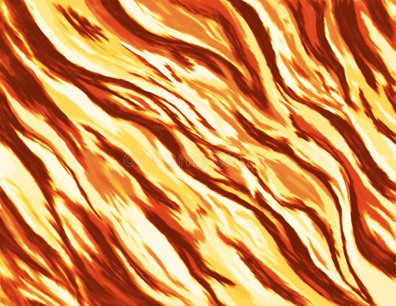 Abstrakt målning/illustration av en brinnande brand med lösa flammor stock illustrationer