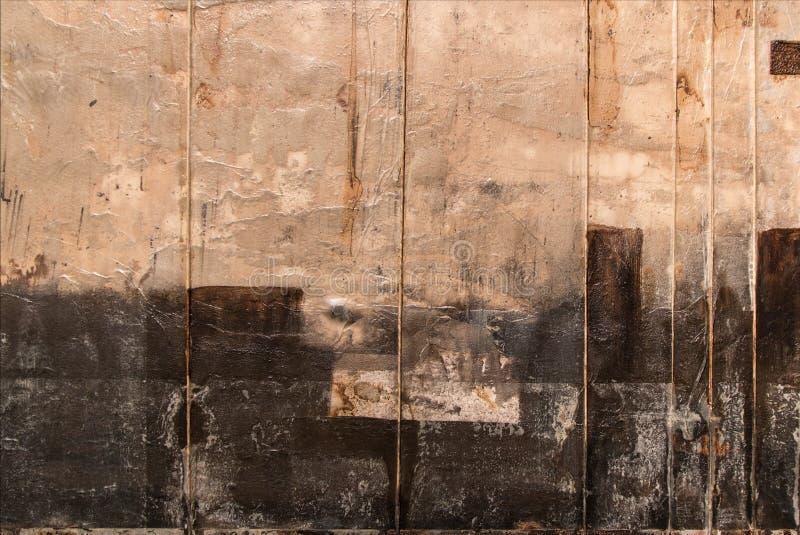 Abstrakt målningkonst: Beiga- och svartfärger arkivfoto