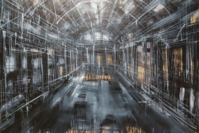 Abstrakt målningkonst: Inom galleri-, grå färg-, vit- och svartsänka royaltyfria bilder