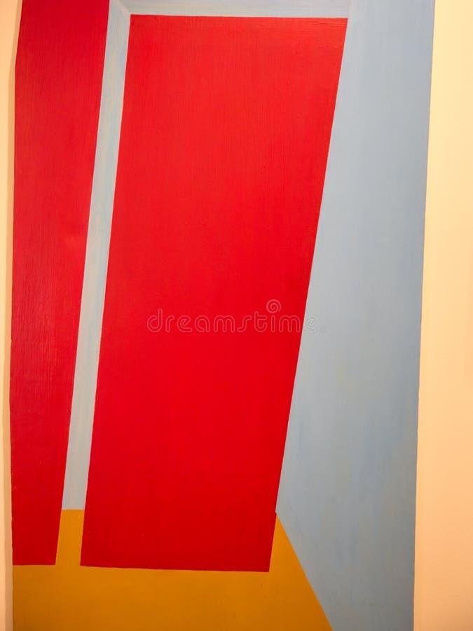 Abstrakt målningkonst med röda geometriska former arkivbild