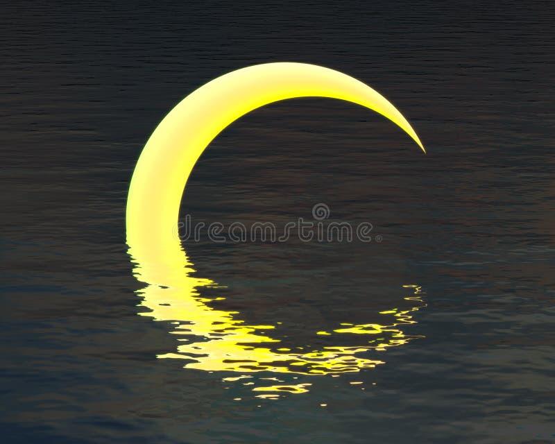Abstrakt måne över vattenreflexion royaltyfri foto