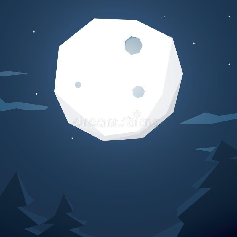 Abstrakt månebakgrund Låg poly design med royaltyfri illustrationer