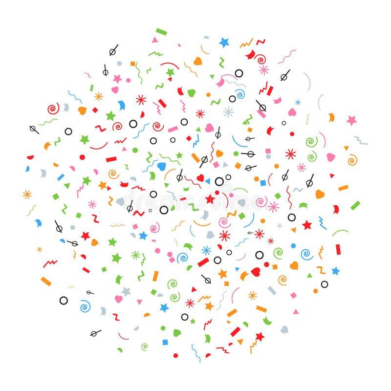 Abstrakt mångfärgad explosion av konfettier med många fallande mycket små stycken som isoleras på vit bakgrund vektor illustrationer