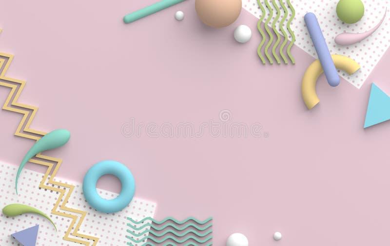 Abstrakt mångfärgad sammansättning i pastellfärgade färger med primitiva geometriska former på rosa bakgrund Kopiera utrymme för  vektor illustrationer