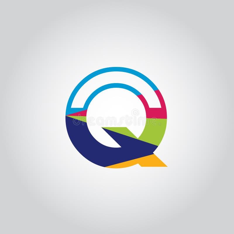 Abstrakt mångfärgad symbol för vektor för design för q-bokstavslogo stock illustrationer