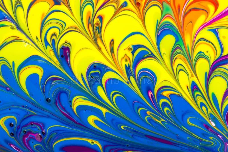 Abstrakt mångfärgad vätskemålarfärg virvlar runt bakgrund royaltyfri illustrationer