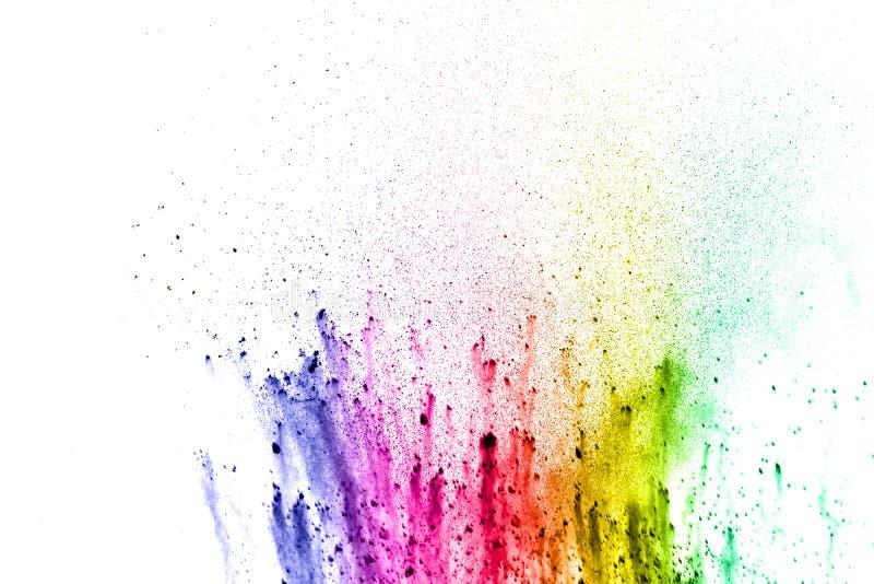 Abstrakt mångfärgat damm stänker på vit bakgrund arkivbild