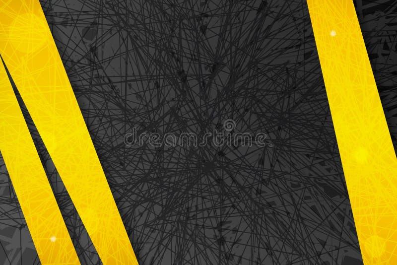 Abstrakt mörk bakgrund med gula linjer och band stock illustrationer