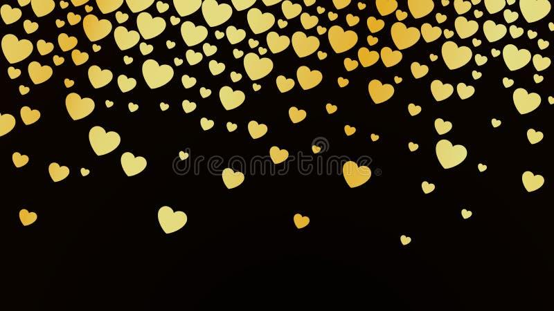 Abstrakt mörk bakgrund med guld- hjärtor Mallbakgrund för designkort och baner Lycklig valentindagtapet stock illustrationer