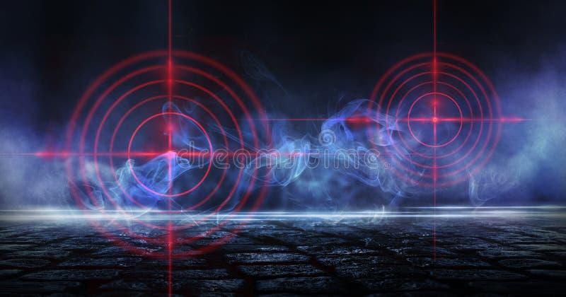 Abstrakt mörk bakgrund med strålar, röd sikt för laser och neonljus Tom tunnel, rum, källarenattsikt av ett mörkt rum stock illustrationer