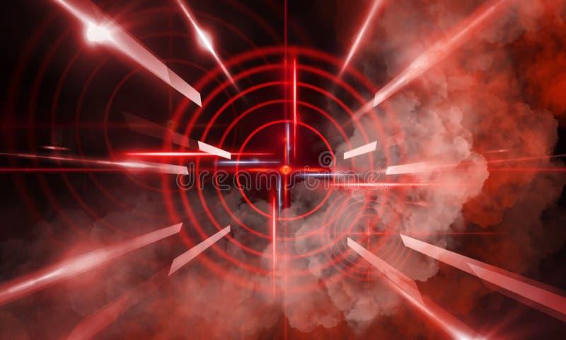 Abstrakt mörk bakgrund med strålar, röd sikt för laser och neonljus Tom tunnel, rum, källarenattsikt av ett mörkt rum royaltyfri illustrationer