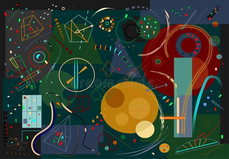Abstrakt mörk bakgrund, utsmyckade färgrika geometriska former 18-86 royaltyfri illustrationer
