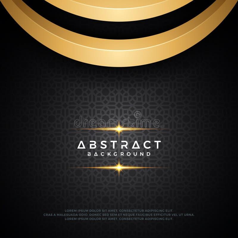 Abstrakt mörk bakgrundsdesign med guld- bågar och att använda moderna geometriska prydnader Text kan bytas ut stock illustrationer
