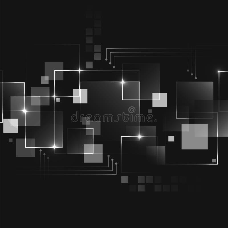 Abstrakt mörk futuristisk affärsteknologibakgrund med den fyrkantiga modellen stock illustrationer