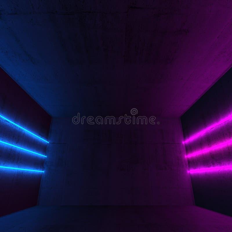 Abstrakt mörk inre bakgrund, neonlinjer royaltyfri fotografi