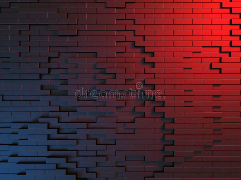 Abstrakt mörk metallisk röd blått skära i tärningar väggbakgrund royaltyfri illustrationer