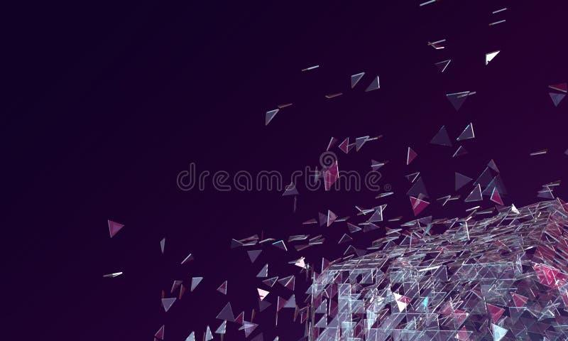 Abstrakt mörk purpurfärgad bakgrund med brutet Glass platoniskt och T royaltyfri illustrationer
