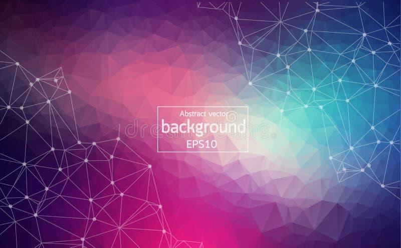 Abstrakt mörk purpurfärgad ljus geometrisk Polygonal bakgrundsmolekyl och kommunikation Förbindelselinjer med prickar Begrepp av  royaltyfri illustrationer