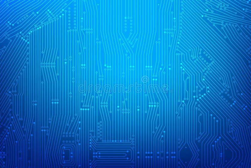 Abstrakt mörker - blå bakgrund med linjen för tryckströmkretsbräde och stock illustrationer