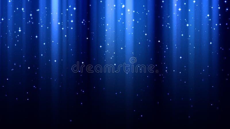 Abstrakt mörker - blå bakgrund med strålar av ljus, norrsken, mousserar, stjärnklar himmel för natten arkivbilder