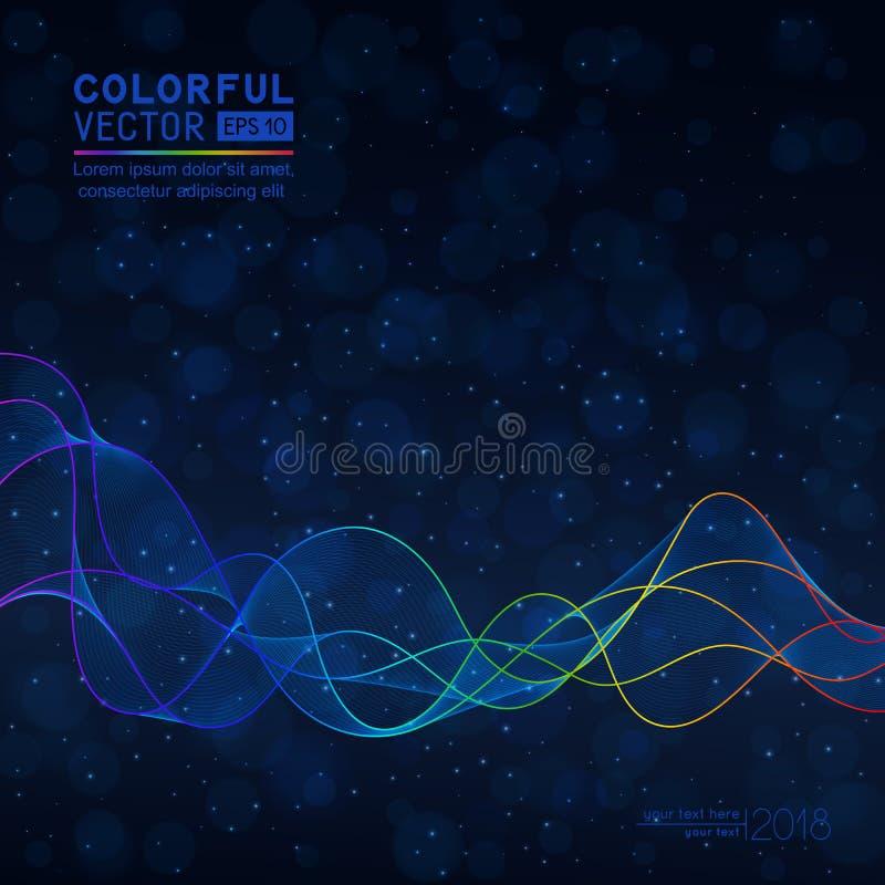 Abstrakt mörker för universal - blå bakgrund med våglinjen på Bokeh stock illustrationer