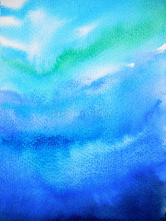 Abstrakt mörker - för vattenhav för blå himmel målning för vattenfärg för våg för hav arkivbilder