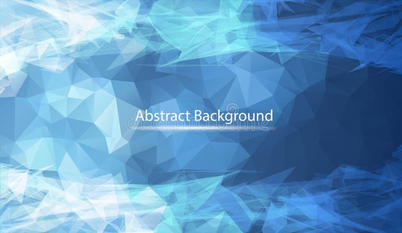 Abstrakt mörkt - blå polygonal yttersidabakgrund Låg poly ingreppsdesign med den förbindande pricken och linjen Anslutningstriang royaltyfri illustrationer