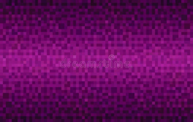 Abstrakt magentafärgad lutningbakgrund Textur med fyrkantiga kvarter f?r PIXEL Mosaisk modell vektor illustrationer