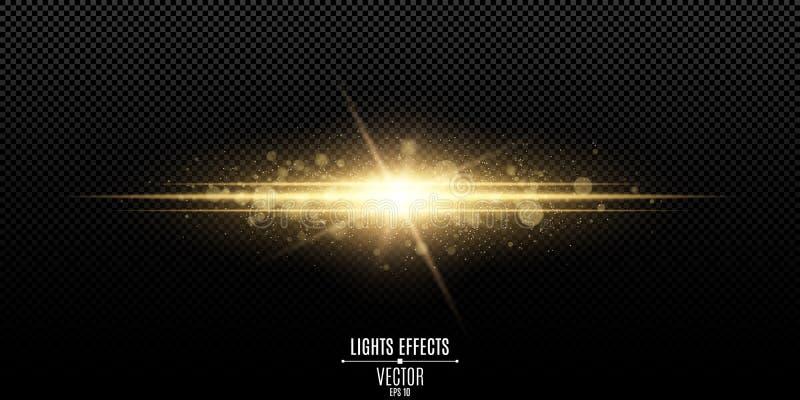 Abstrakt magisk stilfull ljus effekt på en genomskinlig bakgrund Guldexponering Lysande damm- och ilsken blickbokeh också vektor  royaltyfri illustrationer