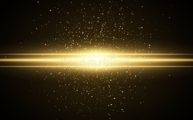 Abstrakt magisk stilfull ljus effekt på en genomskinlig bakgrund Guldexponering Lysande flygadamm som skimrar partiklar vektor royaltyfri illustrationer