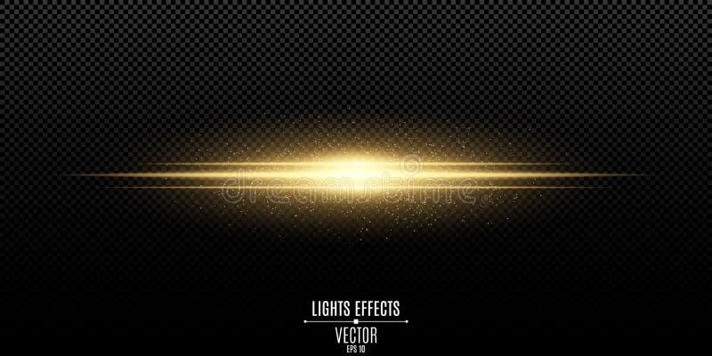 Abstrakt magisk stilfull ljus effekt på en genomskinlig bakgrund Guldexponering Lysande illustration för flygdammvektor royaltyfri illustrationer