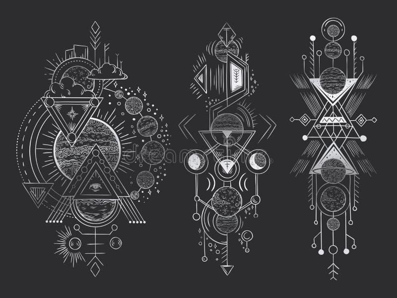 Abstrakt magisk tatuering Sakral geometrisk måne, linjer för mystikeruppenbarelsepilar och utdragen vektor för mystikharmonihand stock illustrationer