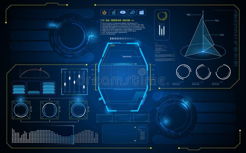 Abstrakt mall för bakgrund för design för begrepp för innovation för konstgjord intelligens för HUD manöverenhet UI framtida fakt vektor illustrationer