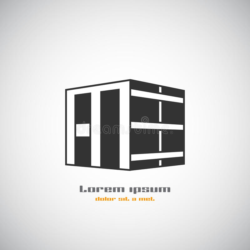 Abstrakt mall för design för logo för vektor för arkitekturbyggnadskontur Symbol för tema för skyskrapafastighetaffär stock illustrationer