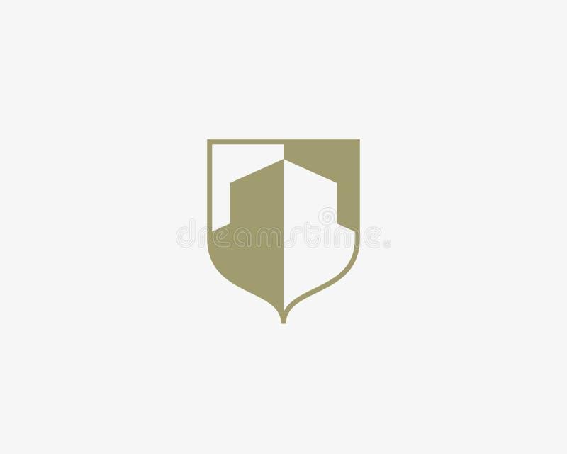 Abstrakt mall för huslogodesign Högvärdigt tecken för fastighetfinansvapen Universell vektor för affärsfundamentsköld vektor illustrationer