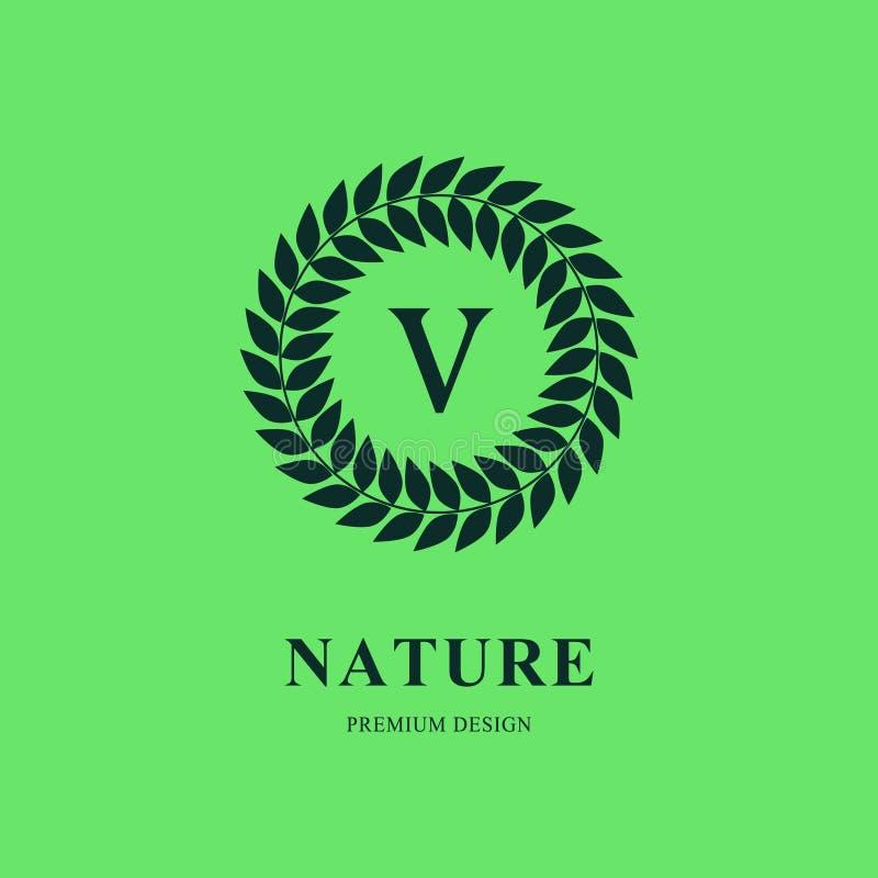 Abstrakt mall för kransmonogramrunda Modern elegant lyxig logodesign Bokstavsemblem V Fläck av skillnad Gräsplanetiketter och royaltyfri illustrationer
