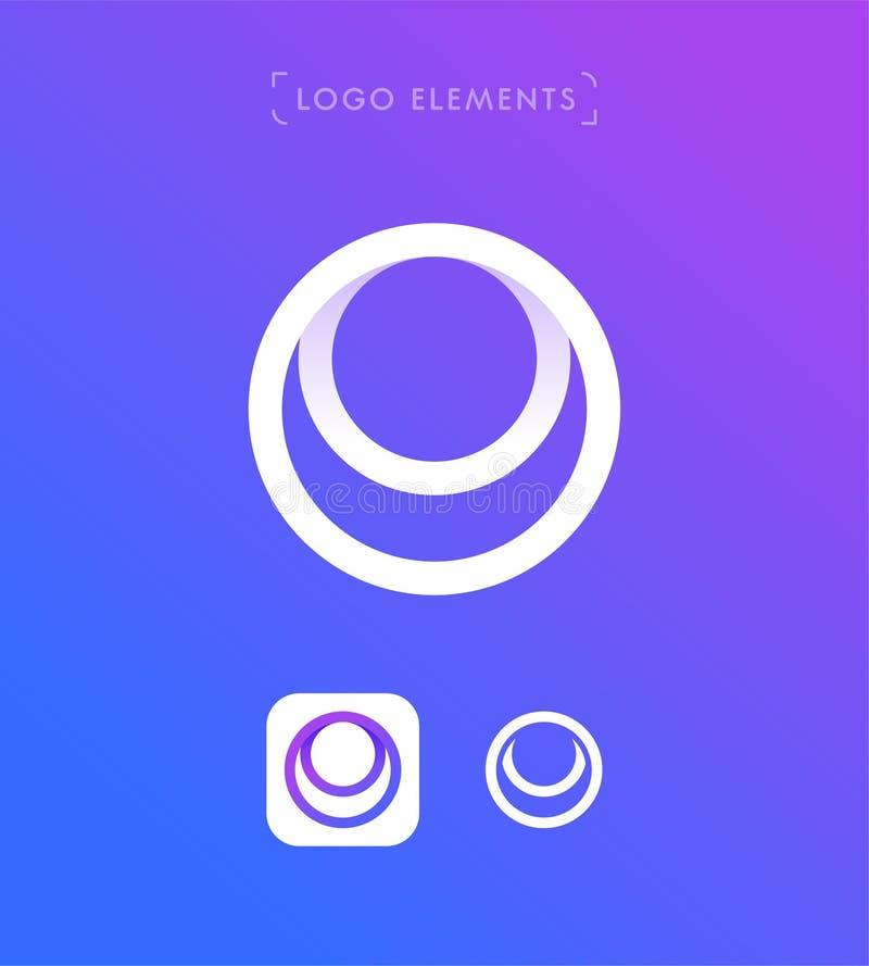 Abstrakt mall för logo för stil för bokstavsnolla-origami Cirkelapplicatio stock illustrationer