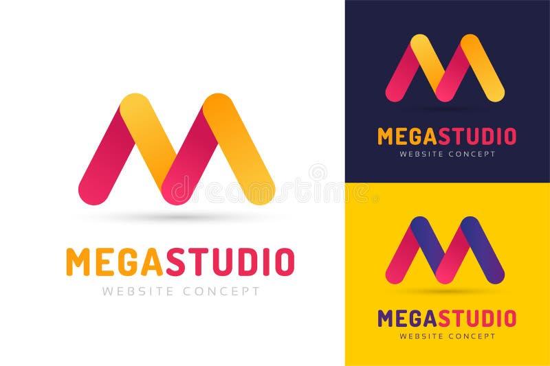 Abstrakt mall för symbol för logo för M-bokstavsvektor vektor illustrationer