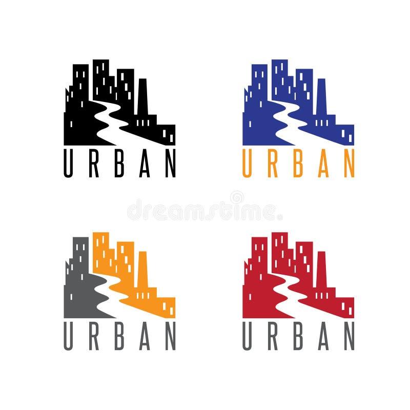 Abstrakt mall för symbolsvektordesign av det stads- landskapet royaltyfri illustrationer