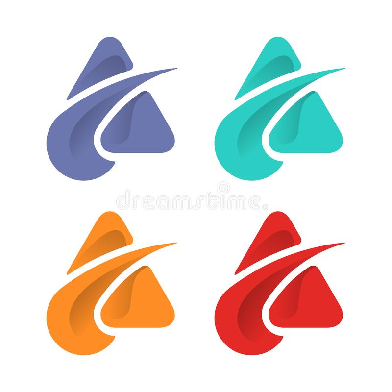Abstrakt mall för triangellogodesign stock illustrationer