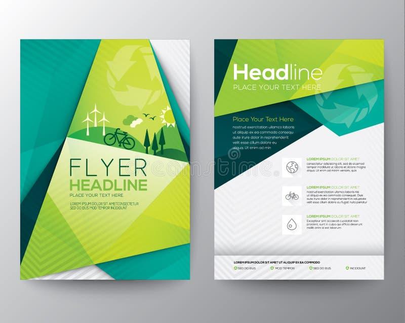 Abstrakt mall för triangelreklambladdesign royaltyfri illustrationer