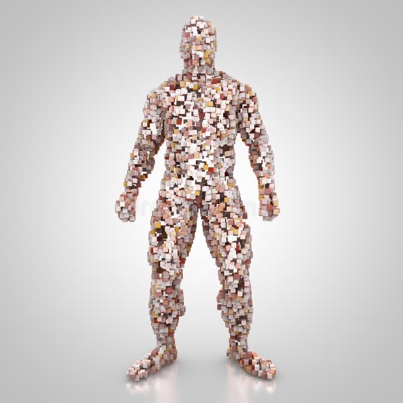 Abstrakt manlig kropp i frontal sikt royaltyfri illustrationer